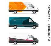 mockup white bus. set of design ... | Shutterstock .eps vector #493295260