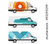 mockup white bus. set of design ... | Shutterstock .eps vector #493295299