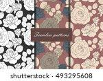 set of three seamless pattern... | Shutterstock .eps vector #493295608