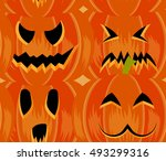 halloween symbols 4 emotions... | Shutterstock .eps vector #493299316