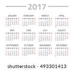 calendar 2017 year isolated on... | Shutterstock . vector #493301413