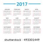 calendar 2017 year isolated on... | Shutterstock . vector #493301449