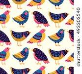 seamless pattern with birds.... | Shutterstock .eps vector #493303540