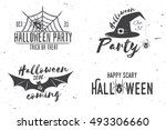happy scary halloween party... | Shutterstock .eps vector #493306660