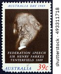 Small photo of CROATIA ZAGREB, 2 OCTOBER 2016: a stamp printed in Australia shows Sir Henry Parkes, Advocate of Federation of the Six Colonies, circa 1989