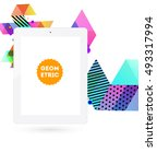 tablet pc icon with geometric... | Shutterstock .eps vector #493317994