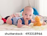 smiling young baby boy with big ... | Shutterstock . vector #493318966
