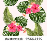 seamless summer tropical... | Shutterstock .eps vector #493319590