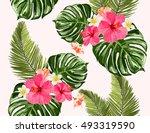 seamless summer tropical... | Shutterstock .eps vector #493319590