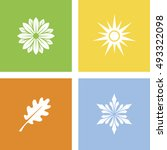 four seasons icons | Shutterstock .eps vector #493322098
