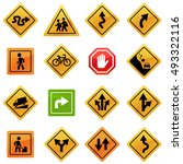 traffic signs icons | Shutterstock .eps vector #493322116