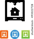 3 d printer with house icon | Shutterstock .eps vector #493322728