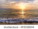 sunset ocean is a wave rolling... | Shutterstock . vector #493328044