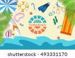 summer vecetion time background ... | Shutterstock .eps vector #493331170