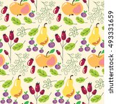 vegetables pattern  apples ... | Shutterstock .eps vector #493331659