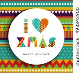 merry christmas greeting card... | Shutterstock .eps vector #493342900