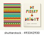 merry christmas greeting card... | Shutterstock .eps vector #493342930