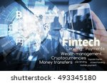 fintech investment financial... | Shutterstock . vector #493345180