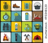 recreation tourism icons set in ... | Shutterstock .eps vector #493348120