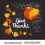 hand drawn thanksgiving... | Shutterstock .eps vector #493352494