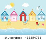 by the seaside   beach huts in... | Shutterstock .eps vector #493354786