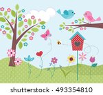 home is where the heart is  ... | Shutterstock .eps vector #493354810