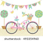 lovely day for a ride   cute... | Shutterstock .eps vector #493354960