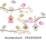 Stock vector home tweet home cute birds on branches with birdhouses 493355044
