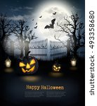 halloween spooky background.... | Shutterstock .eps vector #493358680
