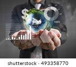 businessman with financial... | Shutterstock . vector #493358770