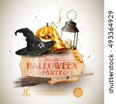 halloween party background with ... | Shutterstock .eps vector #493364929