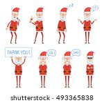 set of santa claus characters... | Shutterstock .eps vector #493365838
