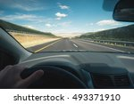 the view from the cab on the... | Shutterstock . vector #493371910