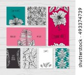 set of tropical wedding cards.... | Shutterstock .eps vector #493374739