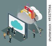 cloud computing technology... | Shutterstock .eps vector #493379566