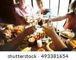 people cheers celebrating... | Shutterstock . vector #493381654