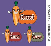 funny carrot expression with... | Shutterstock .eps vector #493390708