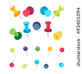set of push pins in different... | Shutterstock .eps vector #493401094