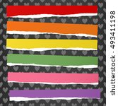 ripped colorful note paper... | Shutterstock .eps vector #493411198
