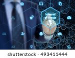 it expert touches hexagon grid... | Shutterstock . vector #493411444