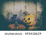vintage tone image of halloween ... | Shutterstock . vector #493418629
