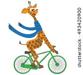 amusing giraffe with bicycle. | Shutterstock .eps vector #493420900