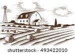 farm landscape. engraved color... | Shutterstock .eps vector #493422010