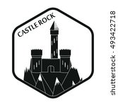 ancient castle in hexagon plate ... | Shutterstock .eps vector #493422718
