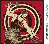vintage propaganda poster and... | Shutterstock .eps vector #493434640