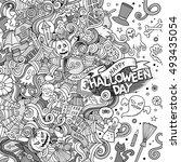 cartoon cute doodles hand drawn ... | Shutterstock .eps vector #493435054
