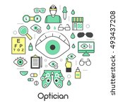 optician thin line vector icons ... | Shutterstock .eps vector #493437208
