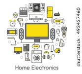 home electronics appliances... | Shutterstock .eps vector #493437460