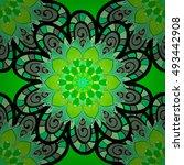 seamless mandala pattern. hand... | Shutterstock .eps vector #493442908