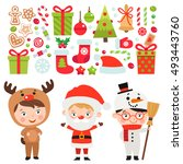 Set of Christmas characters and icons. Kids in festive costumes. Deer, Santa and snowman.
